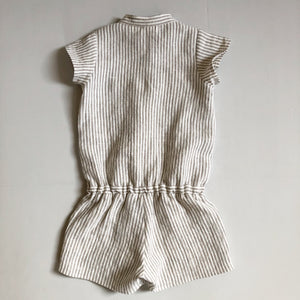 Girls Short Sleeve Linen Romper