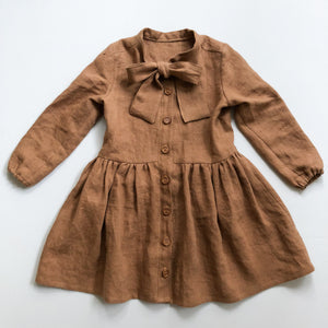 Girls Bow Tie Neck Shirt Dress