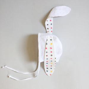 White Bunny Bonnet - Polka Dot