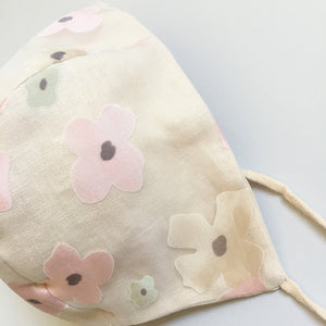 Pale Peach Floral Bonnet - 3-6 months ready to ship
