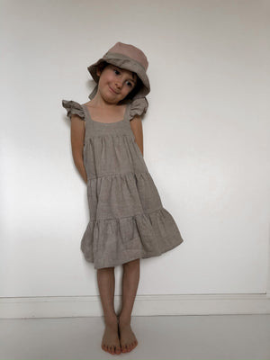 Kids Linen Tiered Dress