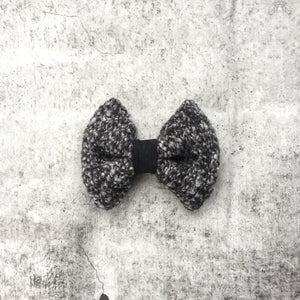 Black and White Wool Hair Bow
