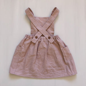 Girls Linen Pinafore Dress