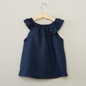 Navy Linen Ruffle Neck Top