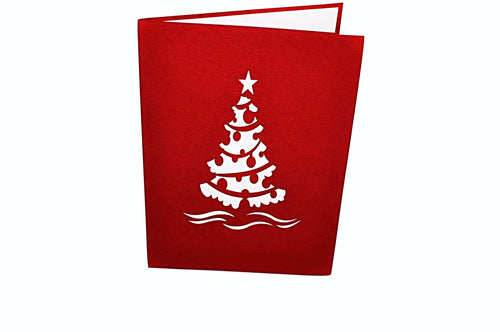 PaperkraftCards Christmas Tree 3D Card (Red)