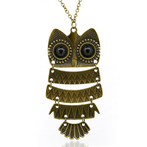 Vintage Owl Pendant Necklace with Chain