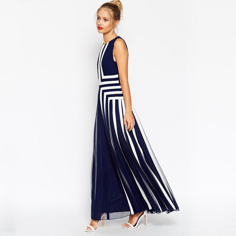 Women's Mesh Stripped Chiffon Maxi dress