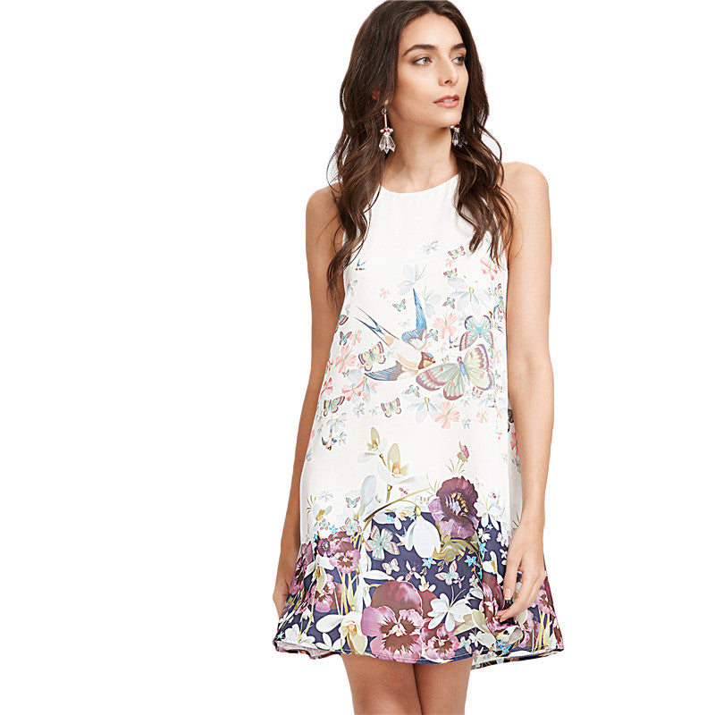 Women's White Flower Print Keyhole Back A Line Tank Dress