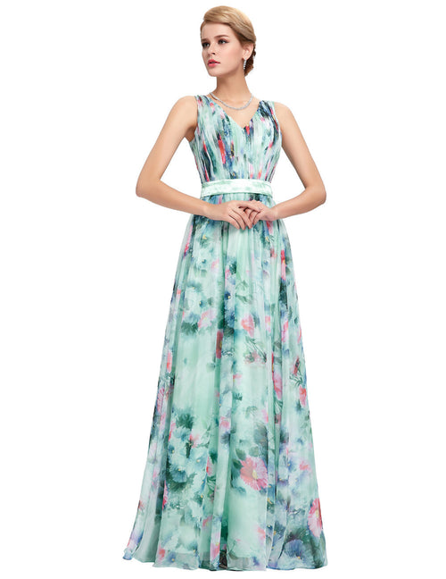 Grace Karin Flower Pattern Floral Print Evening Gown