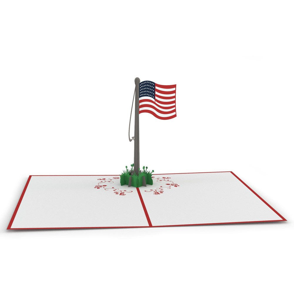 Paperkraft American Flag 3D Popup Greeting card