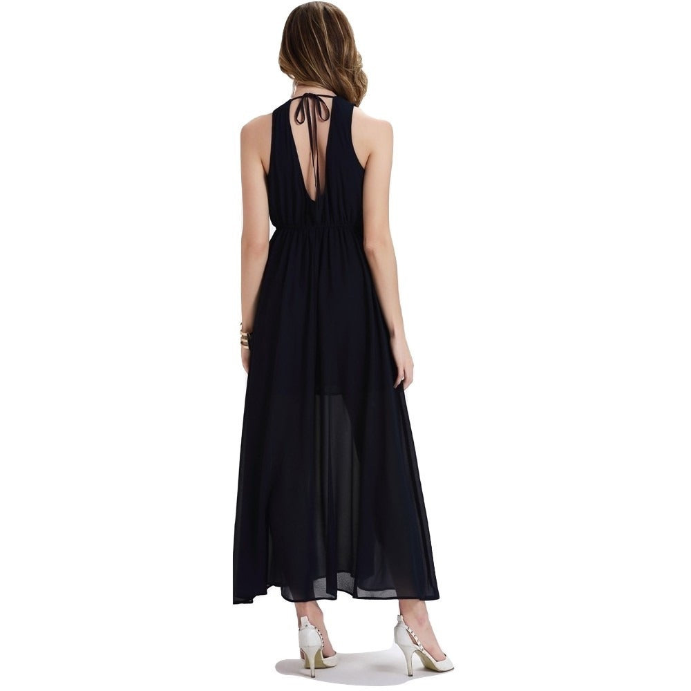 Women's  Backless Strap Long Black Dress - Indifashion.org