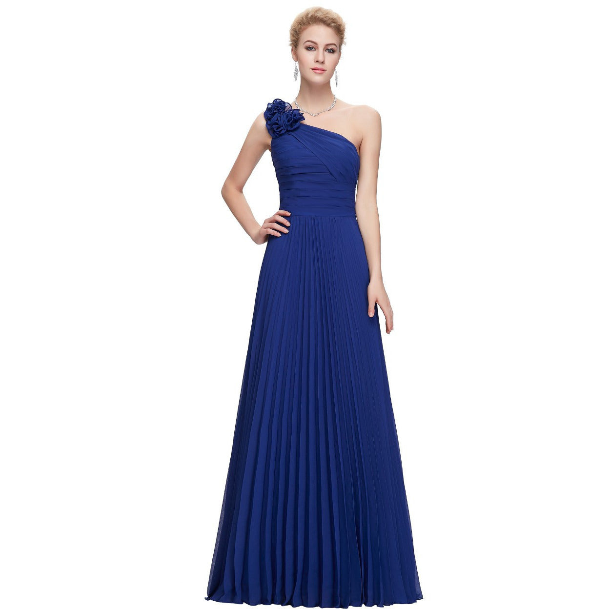 Grace Karin Chiffon One Shoulder Formal Evening Gown - Indifashion