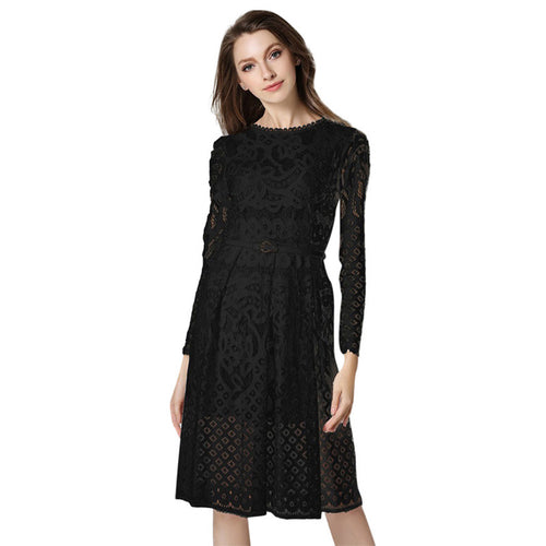 Women's O-Neck Long Sleeve Hollow Out Party Dress - Indifashion.org