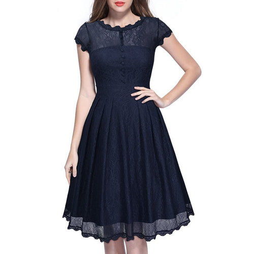 Women's Short Sleeve Floral Evening Party Dress - Indifashion.org