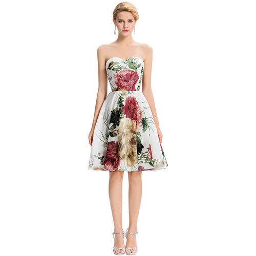 Grace Karin Strapless Flower Pattern Short Prom Dress - Indifashion