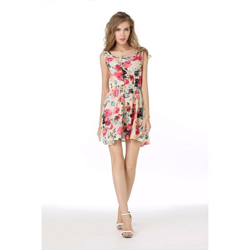 Women's Chiffon Print Summer Style Casual Dress - Indifashion.org