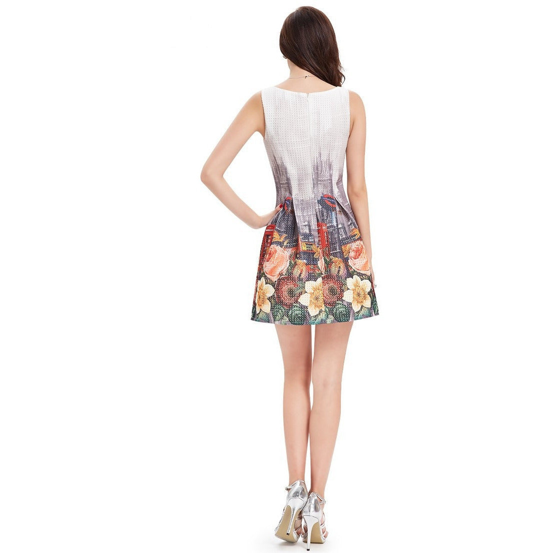 Women's Summer Style Round Neck Cocktail Dress - Indifashion.org