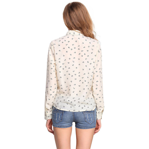 Women's Long Sleeve Chiffon Printed Shirt - Indifashion.org