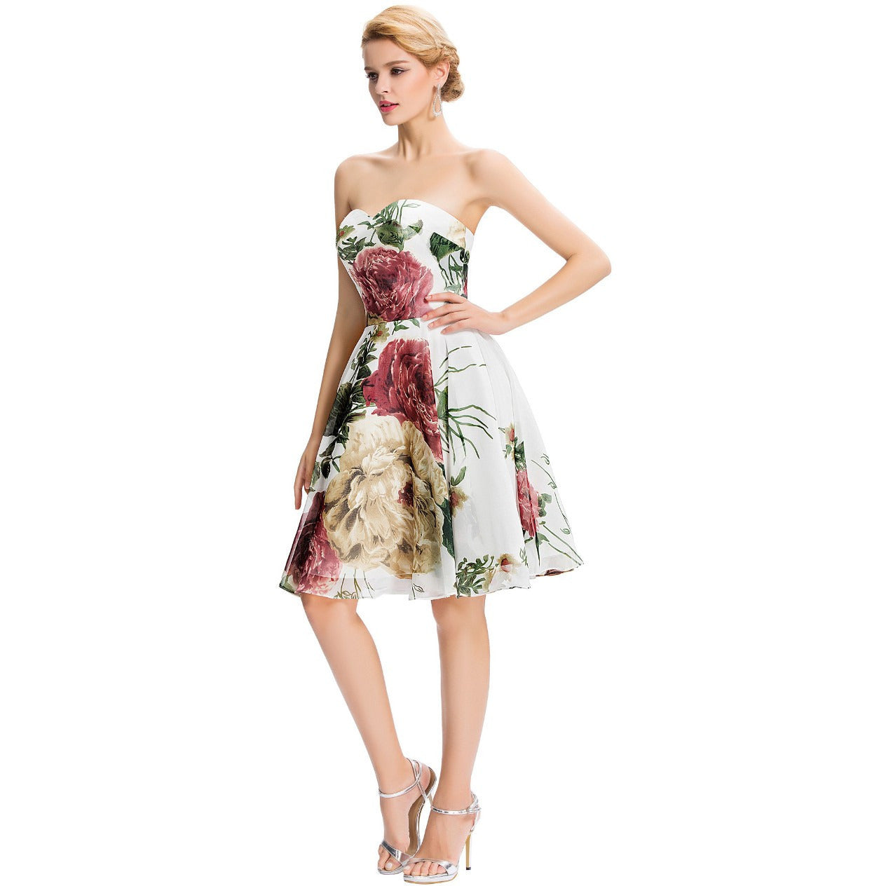Grace Karin Strapless Flower Pattern Short Prom Dress - Indifashion.org