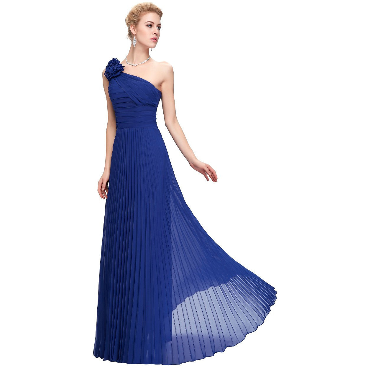 Grace Karin Chiffon One Shoulder Formal Evening Gown