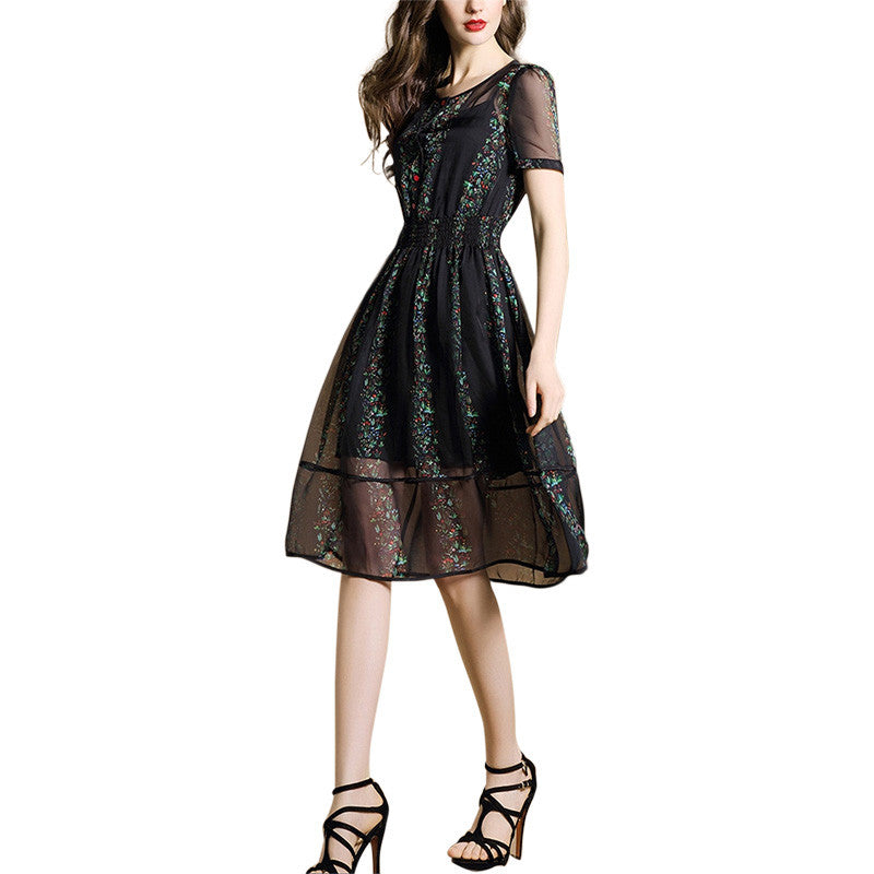 Women's Chiffon Short Sleeve Evening Party Wear - Indifashion.org
