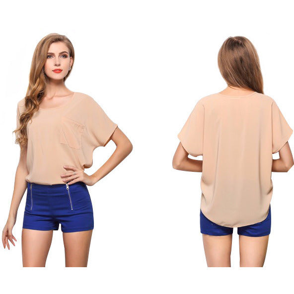 Women's Short Sleeve Chiffon Top - Indifashion.org