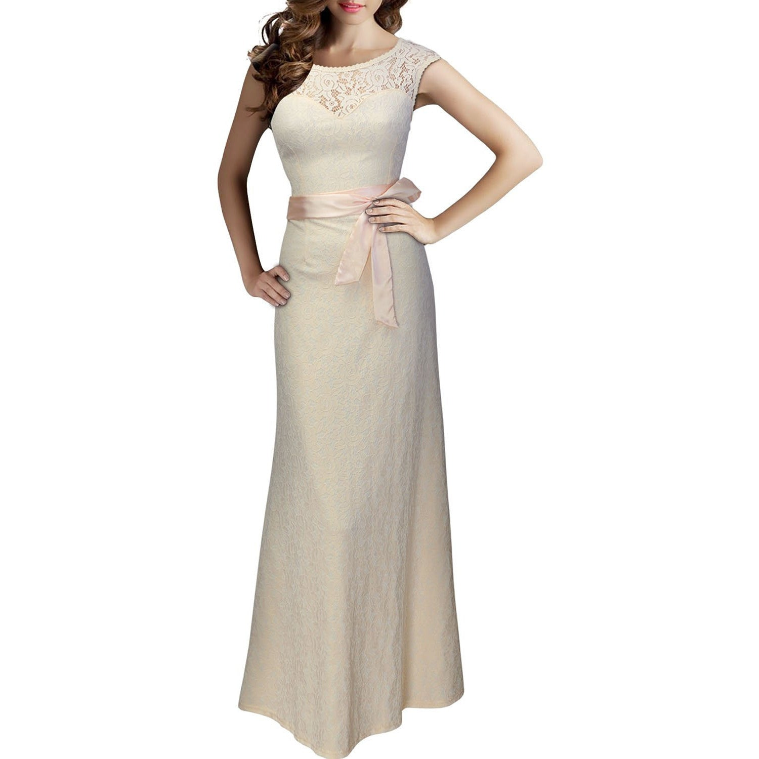 Women's Elegant Floral Lace Sleeveless Halter Bridesmaid Maxi Dress - Indifashion.org