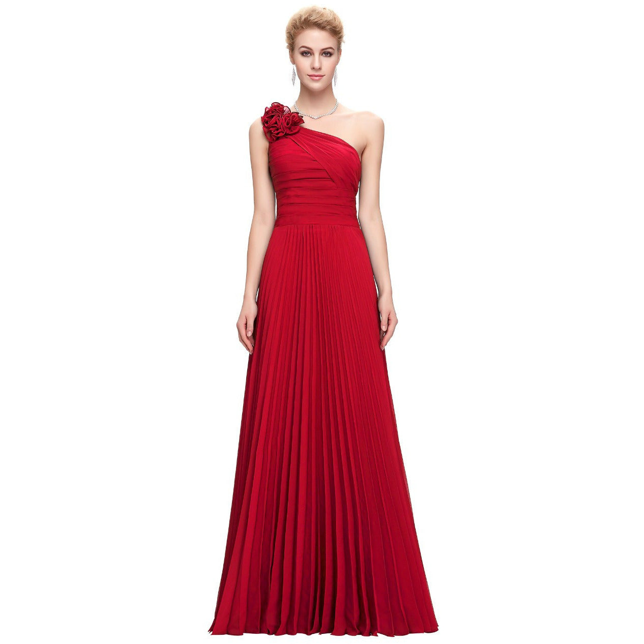 Grace Karin Chiffon One Shoulder Formal Evening Gown - Indifashion.org