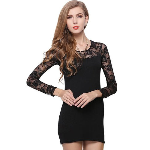 Women's Long Sleeve Black Party Dress - Indifashion.org