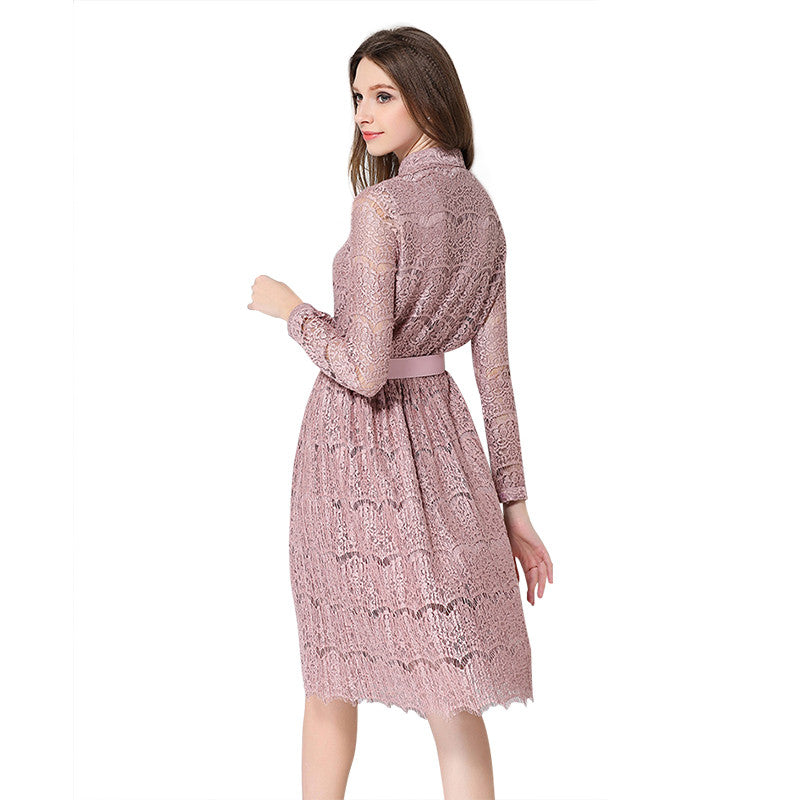 Women's Long Sleeved Lace Long Dress