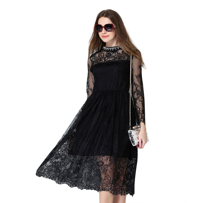 Women's Fashion Lace Elastic Waist Long Dress
