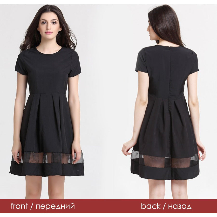 Women's Round Neck Casual Office Dress - Indifashion.org