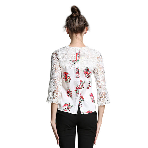 Women's Lace Printing Casual Top