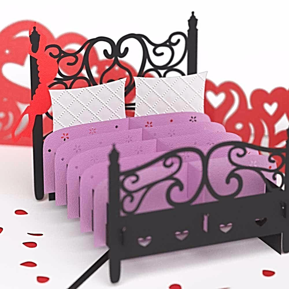 Lovepop Love Bed Valentine's Day 3D Card (Black) - Indifashion.org
