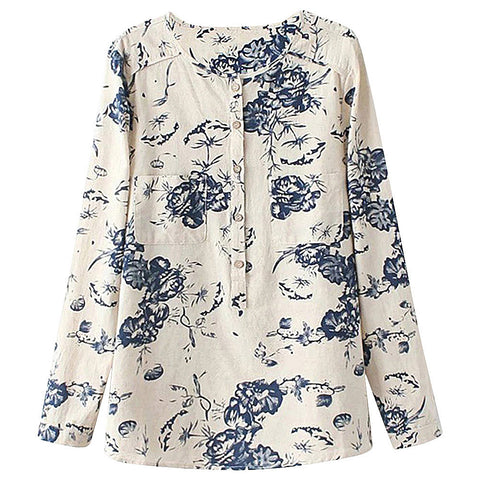 Long Sleeve Floral Print Vintage Shirt for Women