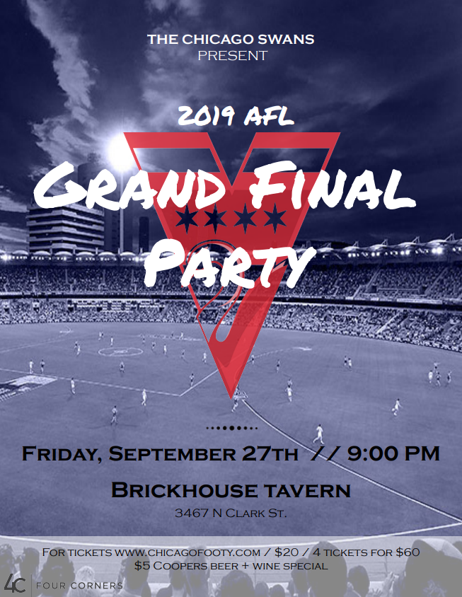 2019 Chicago Swans AFL Grand Final Viewing Party - Brickhouse Tavern Sep 27th (Tickets $20 at the door)
