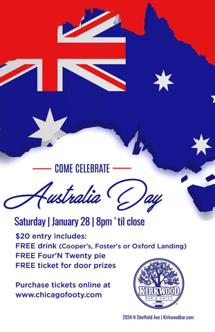 Australia Day at the kirkwood.  Entry includes a cooper's beer and four n twenty pie.