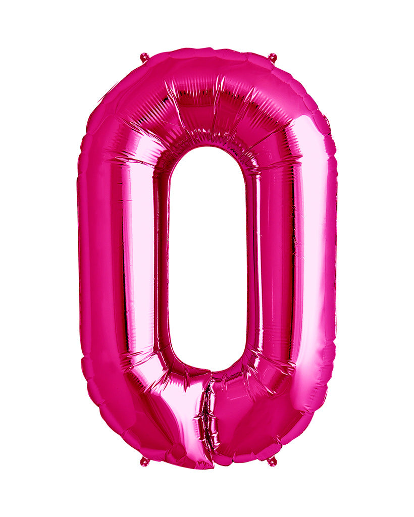 86cm Bright Pink Number Balloons with Helium