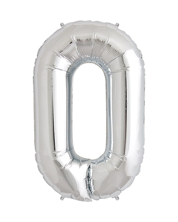 86cm Silver Number Balloons