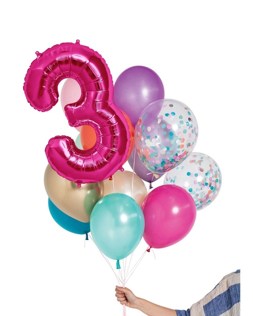 Mermaid Balloon Set and Foil Number Filled with Helium
