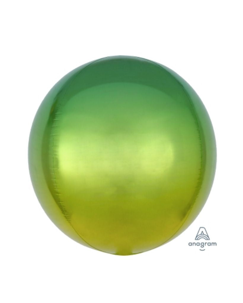 Yellow and Green Ombre Orb Balloon Filled with Helium