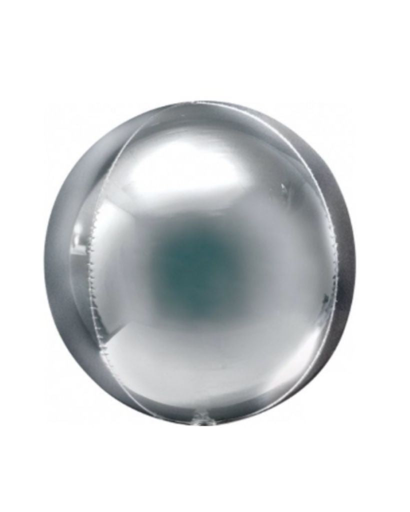Silver Orb Balloon Filled with Helium