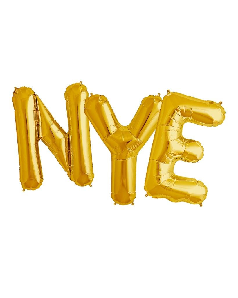 NYE Gold Balloons Inflated with Helium
