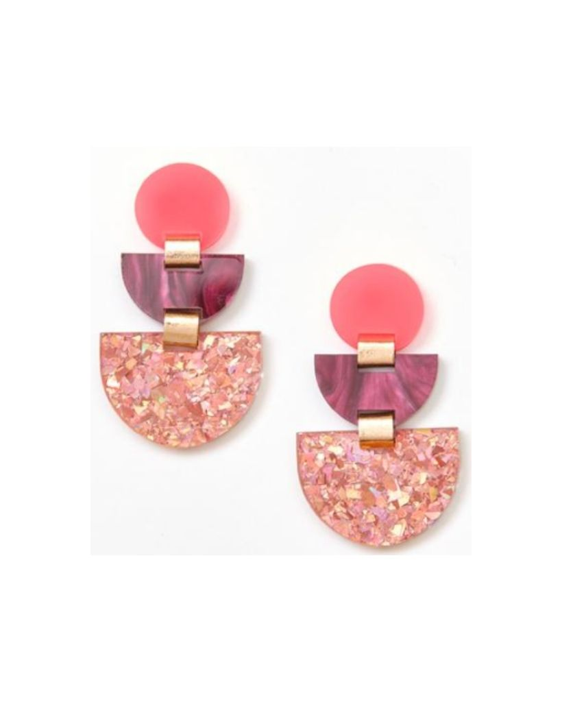 Neon Pink Boat Earrings