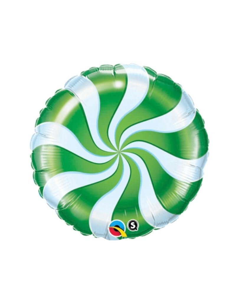 Green Candy Swirl Balloon Filled with Helium