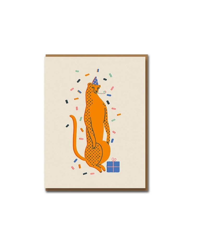 Party Leopard Birthday Card