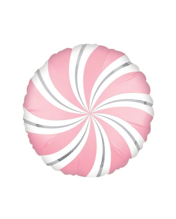 Bubblegum Pink Candy Swirl Balloon Filled with Helium