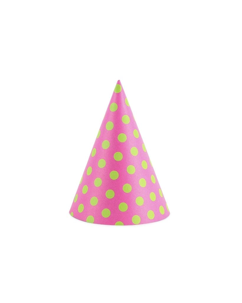 Bright Pink Polka Dot Party Hats