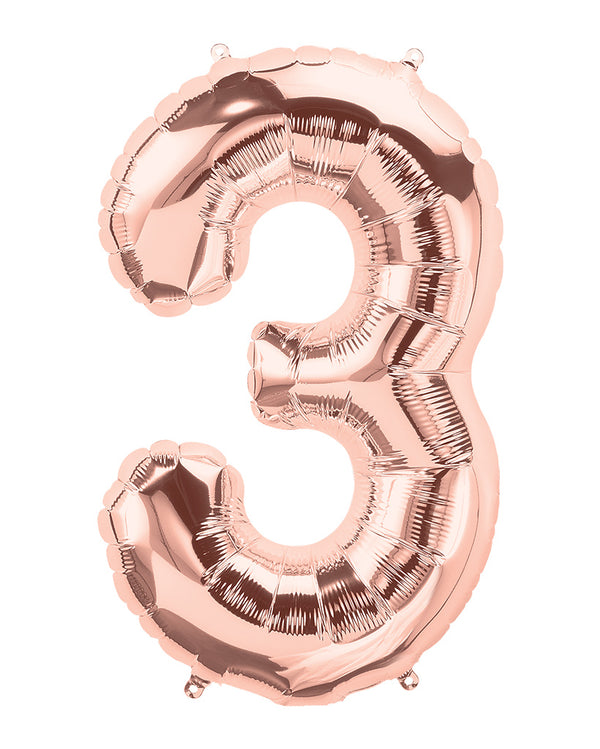 86cm Rose Gold Number Balloons with Helium
