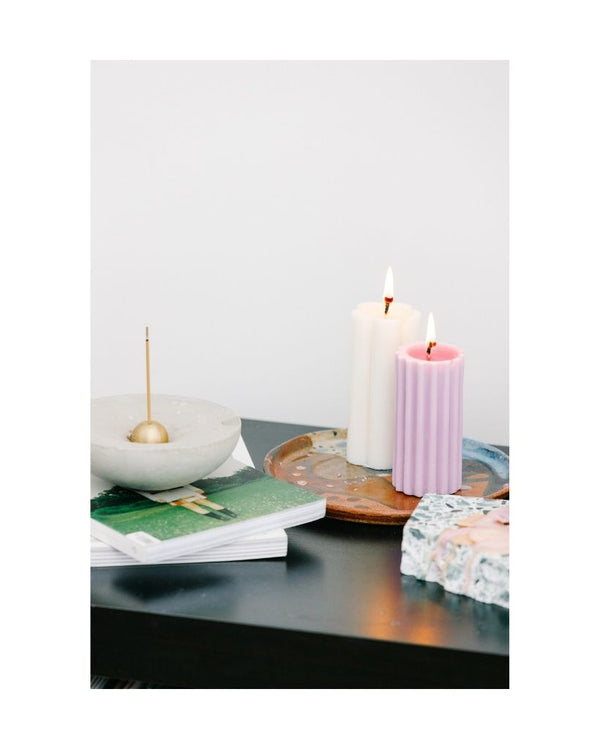 Lilac Pillar Dinner Table Candle